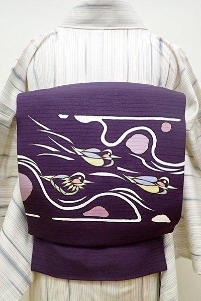銀座【K-5915】絽塩瀬 染名古屋帯 滅紫色 鴛鴦の図