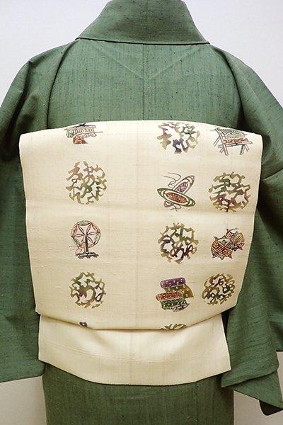 銀座【K-5918】絹芭蕉 型絵染 名古屋帯 浅黄色 民芸調の丸文