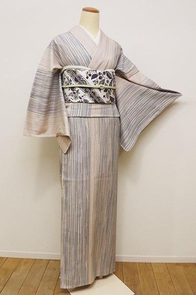 銀座【A-2755】単衣 絹縮 素色×薄花色 絣縞にドット