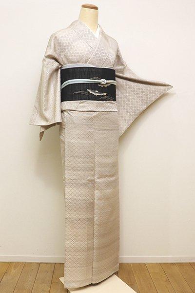 銀座【A-2757】単衣 紬 花織 素色 幾何文(反端付)