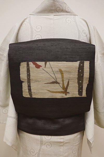 WEB限定【K-5921】紗紬 織名古屋帯 消炭色 秋草の図