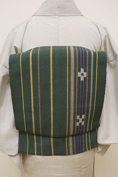 銀座【K-5922】琉球絣 紬地 織八寸名古屋帯 革色 縞に絣文(証紙付)