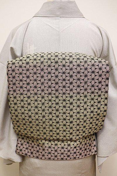 銀座【K-5923】織名古屋帯 暗い蒸栗色×薄柿色 花七宝文