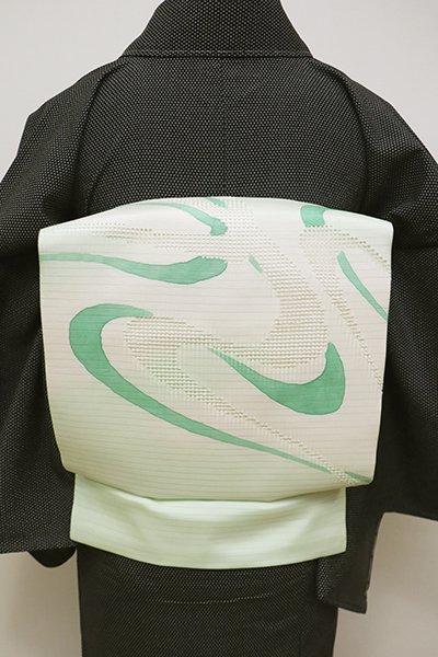 WEB限定【K-5925】絽塩瀬 スワトウ刺繍 染名古屋帯 白緑色 抽象文