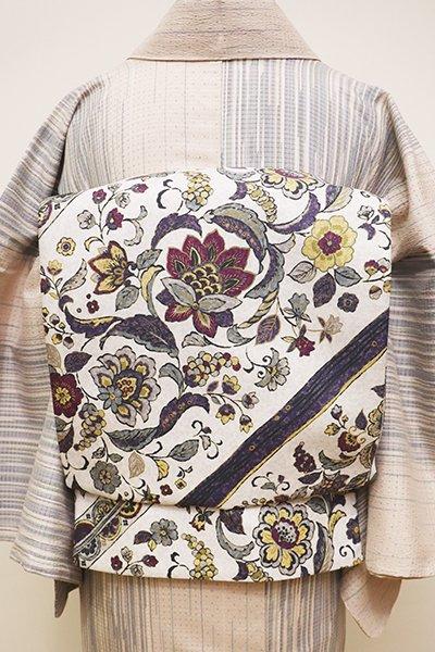 銀座【L-4392】洒落袋帯 白色 更紗花の斜め段