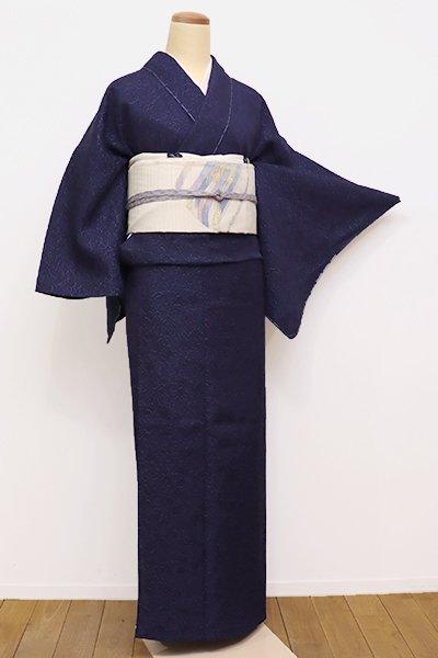 銀座【A-2761】(S)本藍染め 夏御召 濃藍色 葡萄唐草文(しつけ付・反端付)