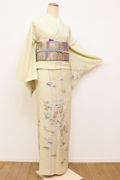 銀座【B-2150】竪絽 付下げ 女郎花色 竹に鉄線の図(しつけ付)