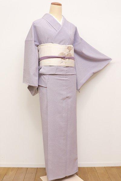 銀座【D-2173】(広め)きもの英製 単衣 小紋 淡い桔梗鼠色 波文