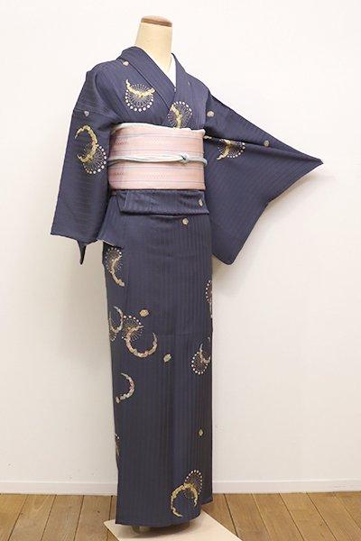 銀座【D-2175】(S)単衣 小紋 青みの鉄御納戸色 雪輪に花文