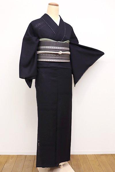 銀座【D-2176】↑Sサイズ↓紋紗 着物 深い藍鉄色 花の横段(しつけ付)