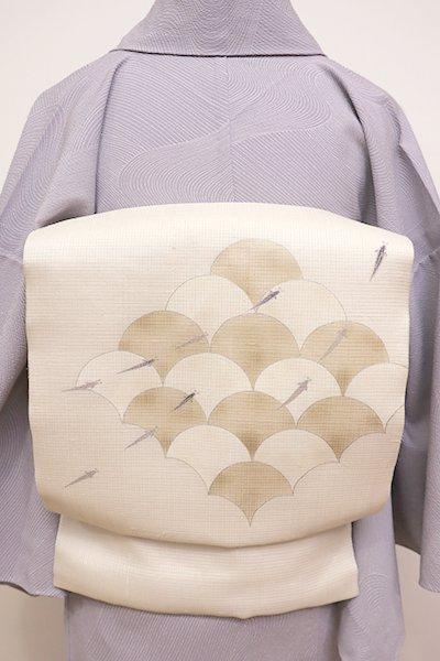 銀座【K-5926】紗紬 染名古屋帯 白練色 青海波にメダカの図