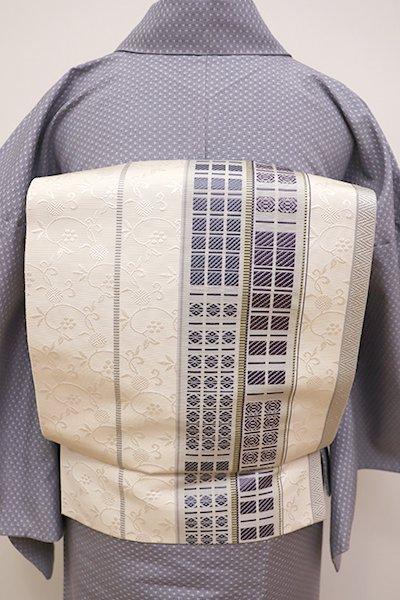 銀座【K-5928】博多織 八寸名古屋帯 練色 縞に笹蔓など