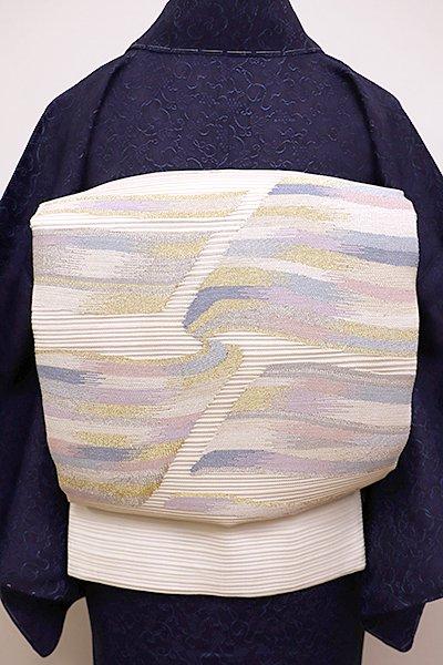 銀座【L-4396】絽 袋帯 白色 抽象文