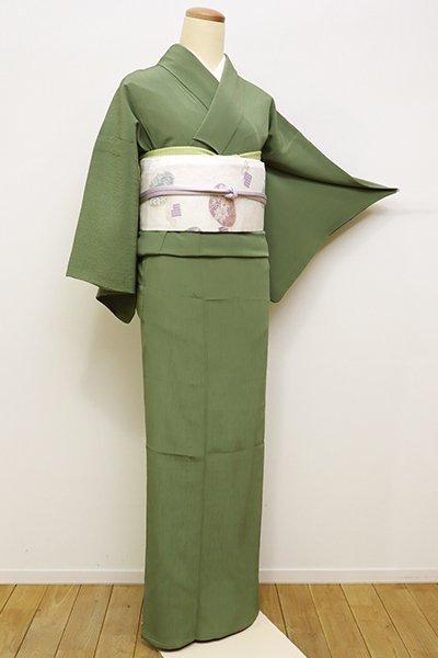 銀座【C-1587】きもの英製 単衣 繍一ッ紋 楊柳 色無地 松葉色
