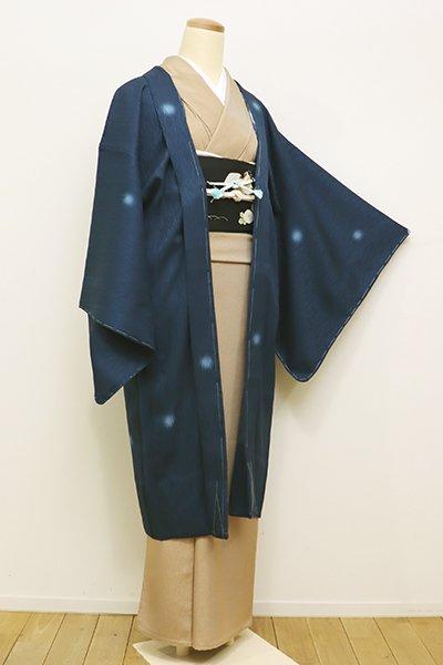 銀座【E-1015】紋紗 羽織 深い藍色 蛍暈かし(しつけ付・新品)