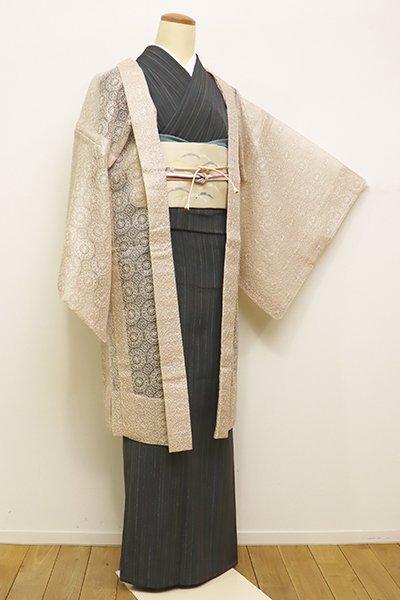 銀座【E-1016】薄物 刺繍 羽織 薄卵色 装飾円文