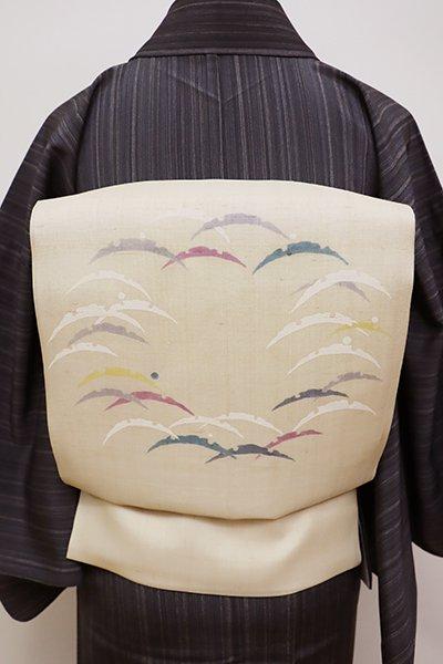 銀座【K-5931】紗紬 染名古屋帯 浅黄色 雪輪芝