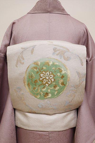 銀座【K-5932】夏 織名古屋帯 白鼠色 唐花の円文