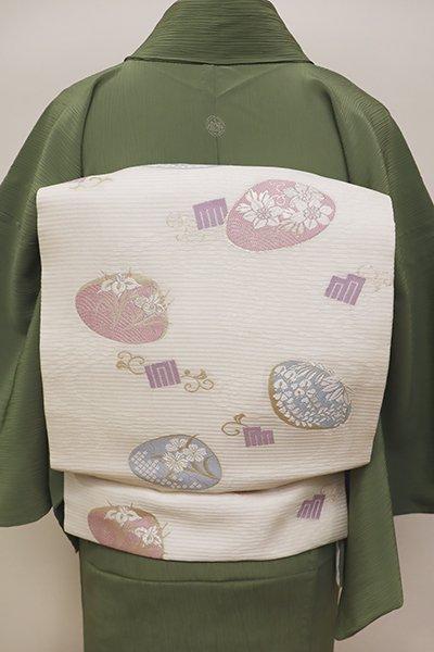 銀座【K-5934】絽 織名古屋帯 白色 貝合わせに四季花の図