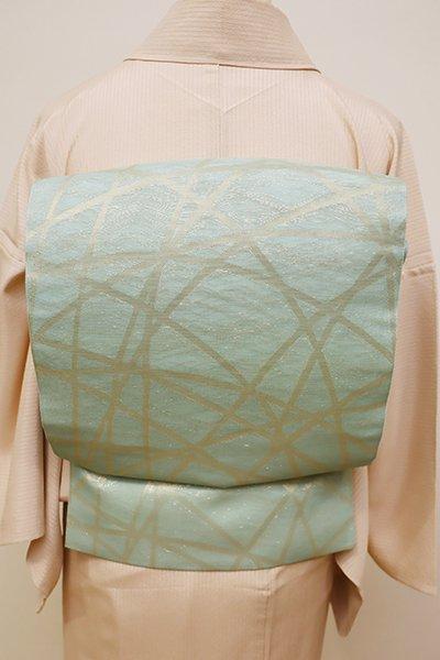 銀座【L-4397】紗 本袋帯 淡い青磁色 芝文