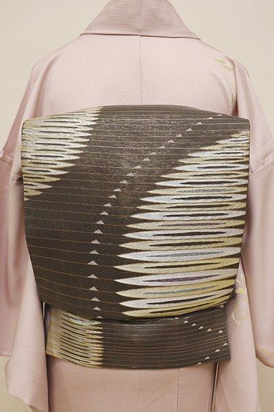 銀座【L-4398】西陣製 絽 袋帯 煤色 幾何的な丸文(証紙付・未使用)