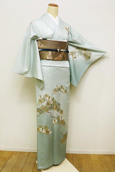 銀座【B-2156】きもの英製 単衣 繍一ッ紋 訪問着 千草鼠色 松の図