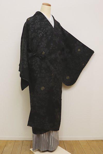 銀座【E-1020】紋紗 道中着 黒色 花の装飾文(しつけ付)