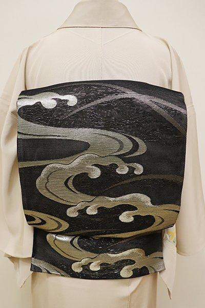 銀座【L-4399】絽 袋帯 黒色 流水に芝文