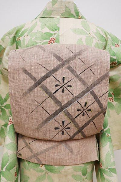 銀座【L-4401】夏紬 洒落袋帯 赤白橡色 業平格子