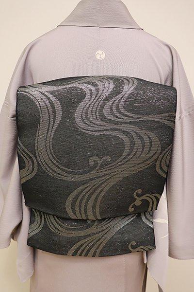 銀座【L-4403】紗 袋帯 黒色 流水文