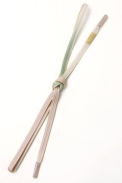 銀座【G-1245】京都 衿秀製 帯締め 畝打組 二色暈かし 淡藤色×錆青磁色(新品)