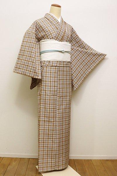 WEB限定【A-2766】(S)単衣 紬 白色×黄枯茶色 格子(反端付)