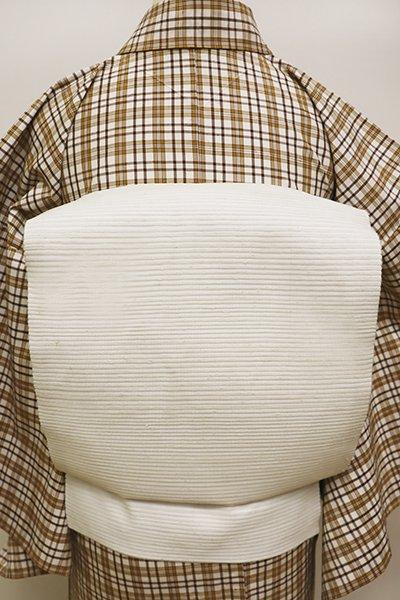 銀座【K-5941】絽紬 織名古屋帯 白色 無地