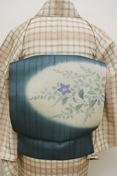 銀座【K-5943】紗紬 染名古屋帯 高麗納戸色 桔梗と萩の図
