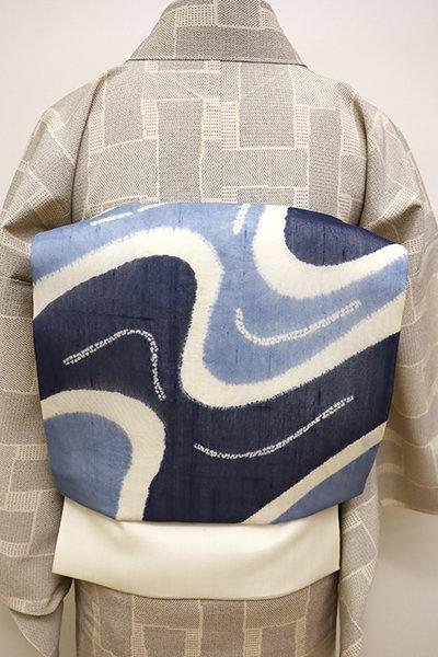 銀座【K-5945】紗紬 絞り染め 名古屋帯 白色×藍色濃淡 流線の図