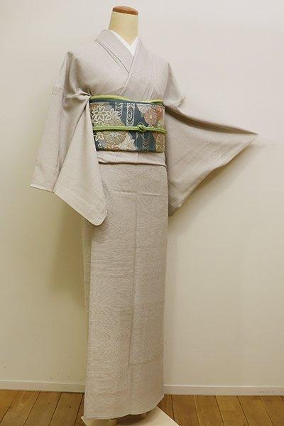 WEB限定【C-1588】(S)単衣 繍一ッ紋 色無地 素色 杢目の地紋
