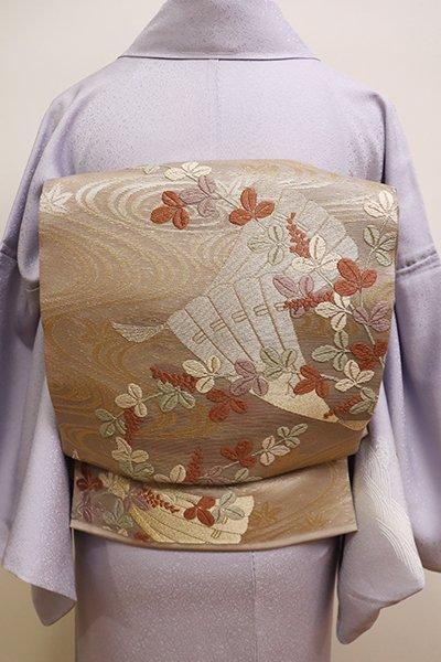 銀座【L-4408】紗 袋帯 淡い胡桃染色 流水に檜扇や萩の図