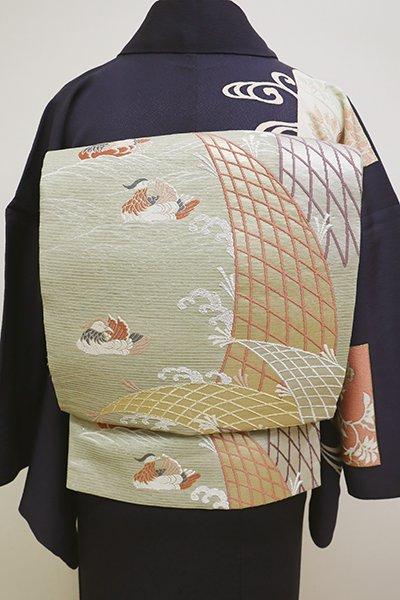 銀座【L-4410】絽 袋帯 淡い柳茶色 波に網や鴛鴦の図