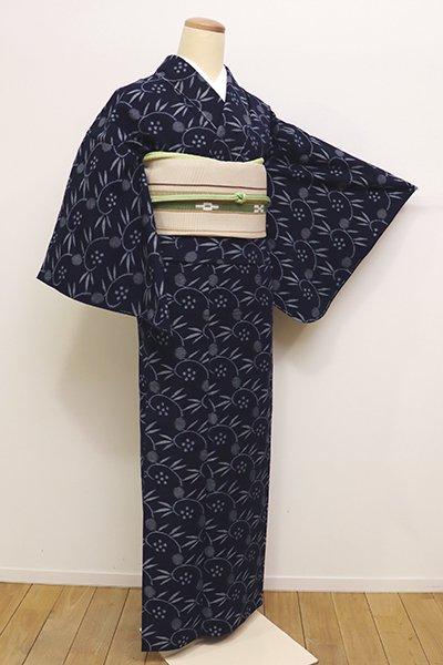 あおき【A-2772】(S・細め)単衣 木綿絣 濃藍色 笹蔓文(しつけ付・青山みとも扱い)