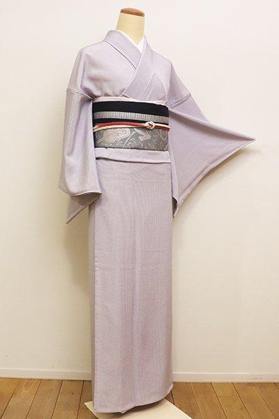 銀座【D-2180】単衣 小紋 白藤色 細縞