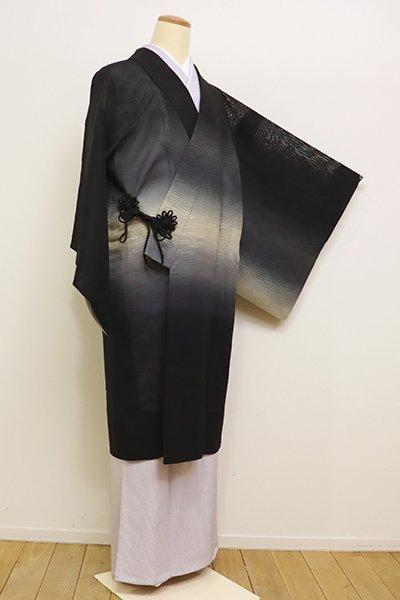 銀座【E-1022】紋紗 絵羽 道中着 黒色 横段暈かし
