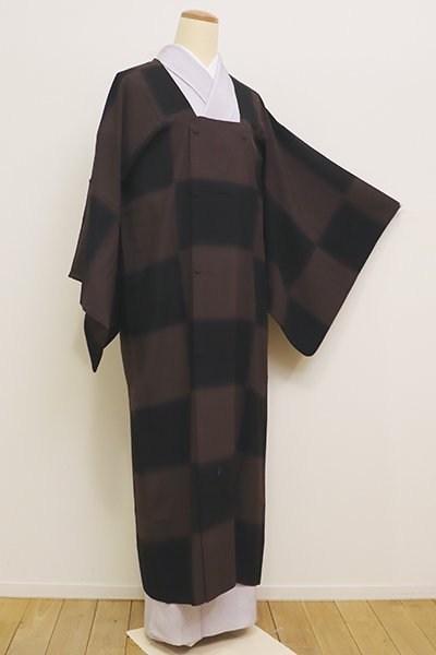 銀座【E-1023】薄物 道行コート 黒色×煤竹色 市松暈かし