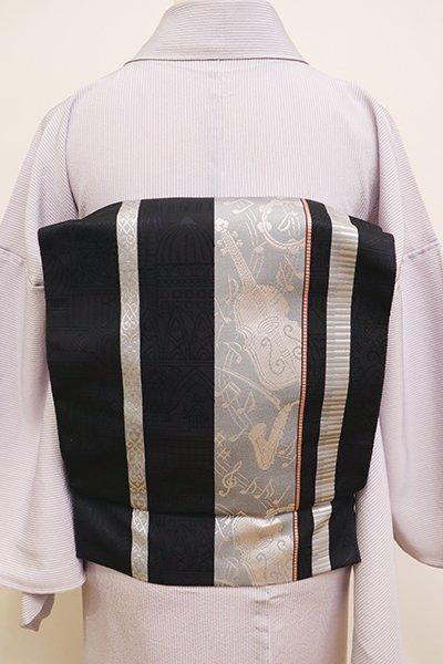 銀座【K-5947】本場筑前博多織 八寸名古屋帯 黒色 楽器の図(証紙付)