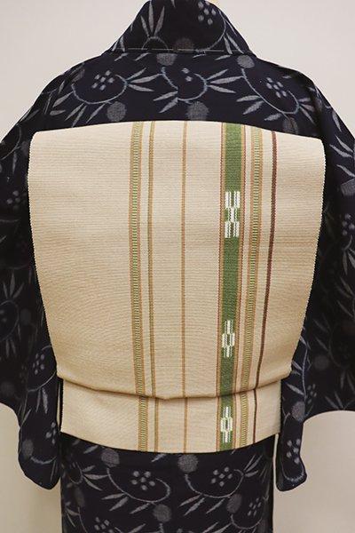 銀座【K-5948】ミンサー織 八寸名古屋帯 薄香色 縞に絣文