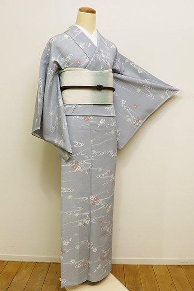 あおき【D-2181】きもの英製 単衣 小紋 淡い薄花色 流水に秋の草花