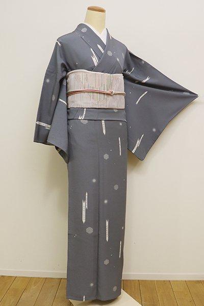 あおき【D-2182】(広め)単衣 小紋 青みの灰色 矢絣に雪輪文
