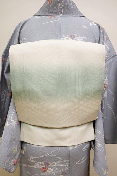 銀座【K-5951】西陣製 紋紗 織名古屋帯 白色×錆青磁色 横段暈かし(タグ付・未使用)