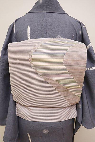銀座【K-5952】絽綴れ 八寸名古屋帯 牡丹鼠色 流線の図