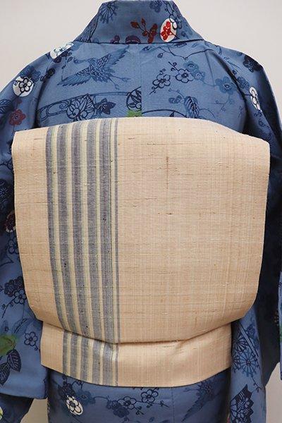銀座【K-5953】大城廣四郎織物工房製 本場琉球絣 織名古屋帯 洗柿色 縞(反端付)