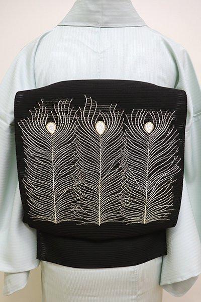 銀座【K-5955】西陣 河村織物製 絽綴れ 八寸名古屋帯 黒色 孔雀の羽根の図(落款入)